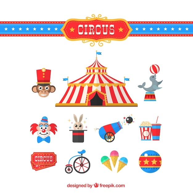Circus elements collection in flat design Free Vector