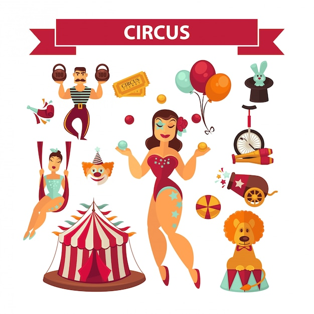 Circus elements and performers Premium Vector