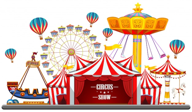 Circus event with tents, ferris wheel, rides games, ticket booth pirate ship isolated Free Vector