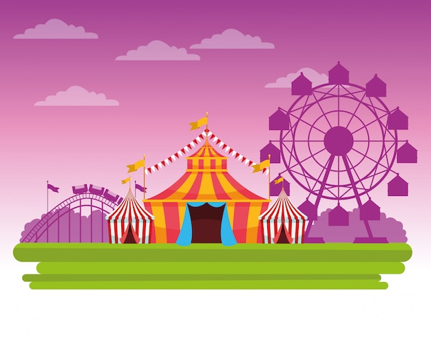 Circus fair festival scenery cartoon Free Vector