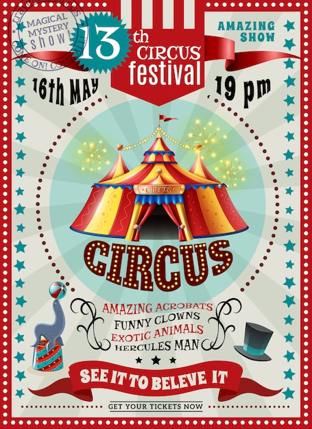 Circus festival announcement retro poster Free Vector