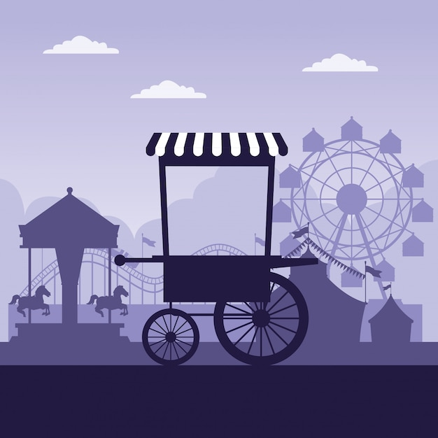 Circus festival fair scenery blue and white colors Free Vector