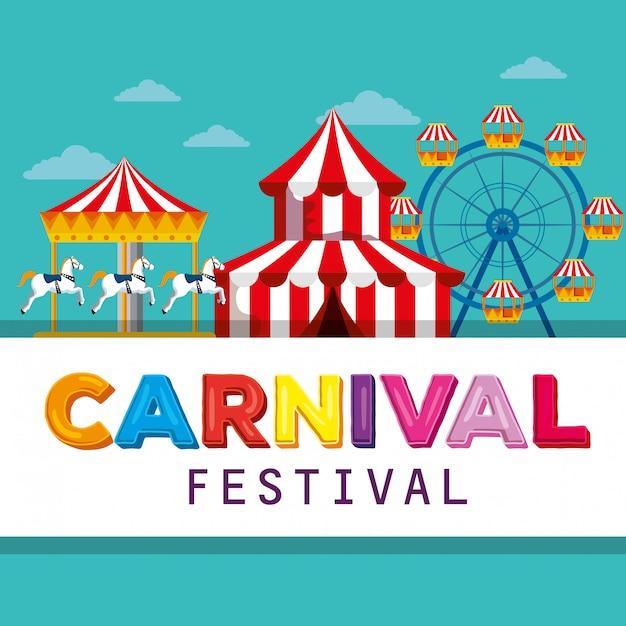 Цирковой фестиваль с каруселью и колесом обозрения Premium векторы