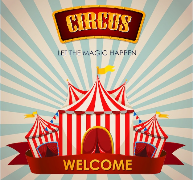 Circus, fun fair, amusement park theme template Free Vector