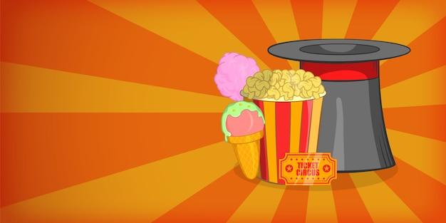 Circus horizontal banner concept magician. cartoon illustration of circus vector horizontal banner for web Premium Vector