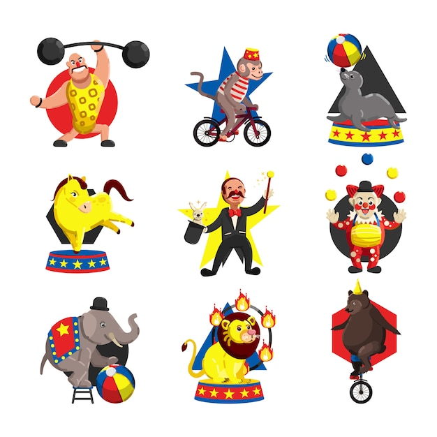 Circus icons collection colored cartoon template vector Premium Vector