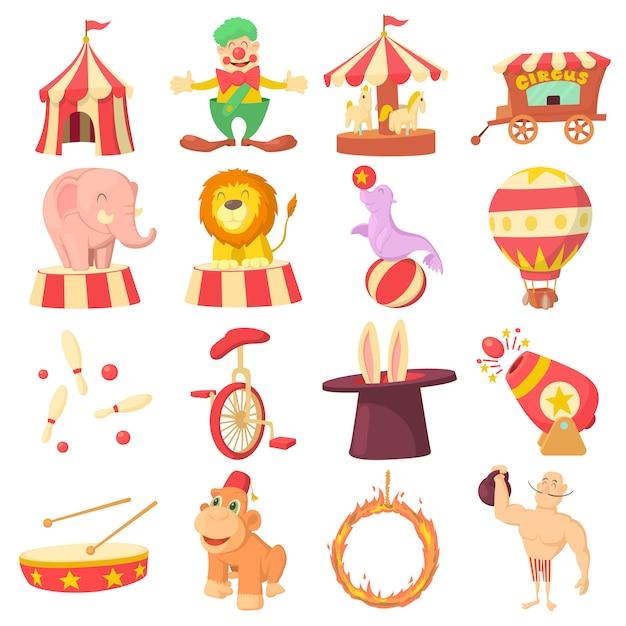 Circus icons set Premium Vector