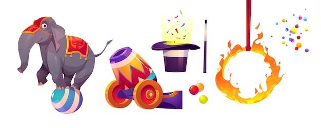 Цирковые иконы со слоном, огненным кольцом и пушкой Бесплатные векторы