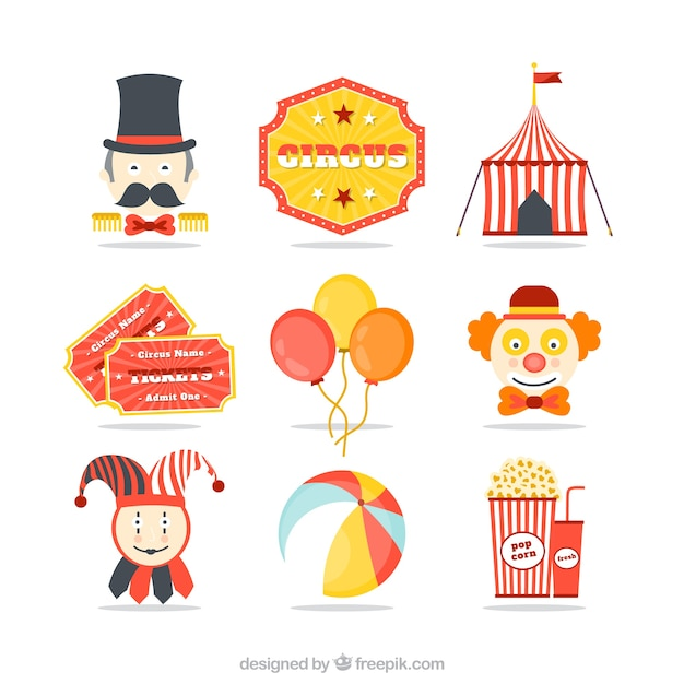 Circus icons Free Vector