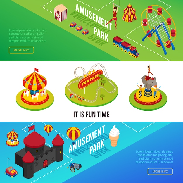 Circus isometric horizontal banners with elements of amusement park Free Vector
