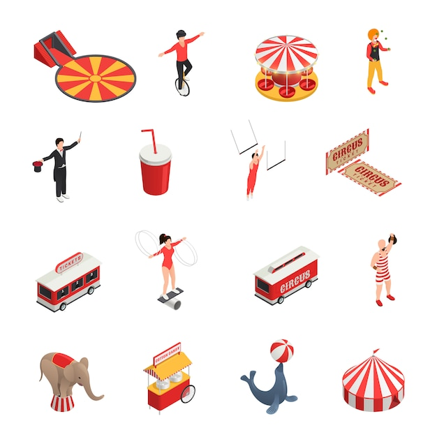 Circus isometric set of manege juggler clown acrobat trained animals tickets cola carousel decorative icons Free Vector