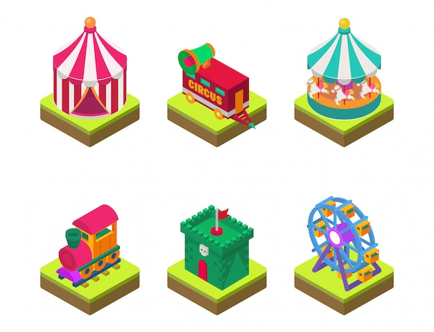 Circus isometric show entertainment tent marquee outdoor festival with stripes and flags carnival signs Premium Vector