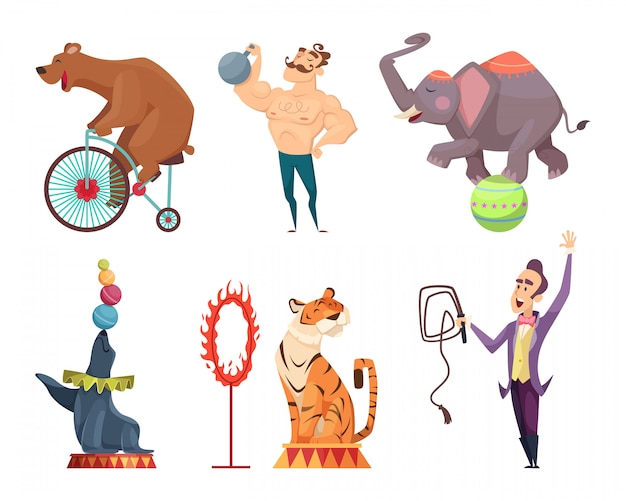 Circus mascots, performers, juggler and other characters of circus Premium Vector