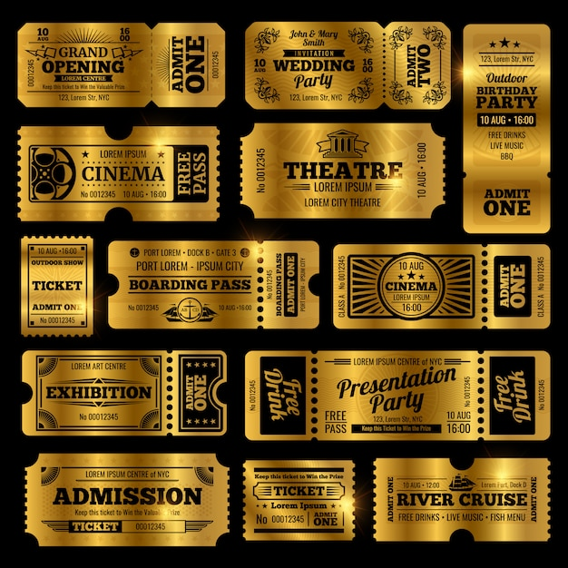 Circus, party and cinema  vintage admission tickets templates. Premium Vector