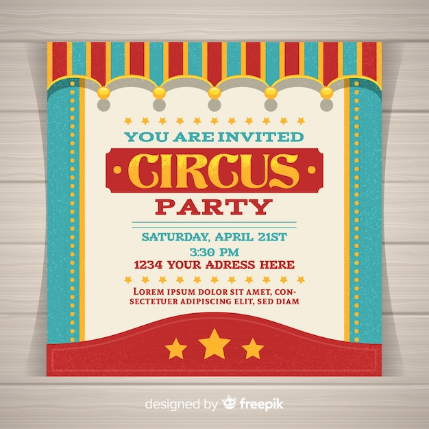 Circus Party Invitation Card Vector Free Download