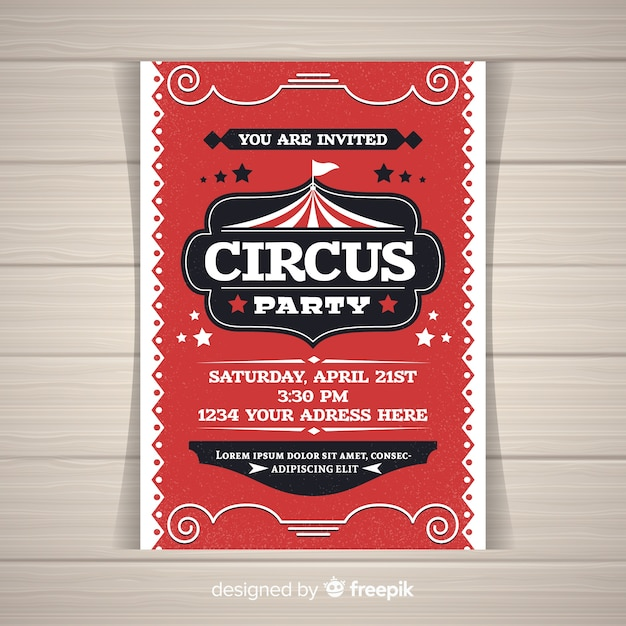 Circus party invitation card Free Vector