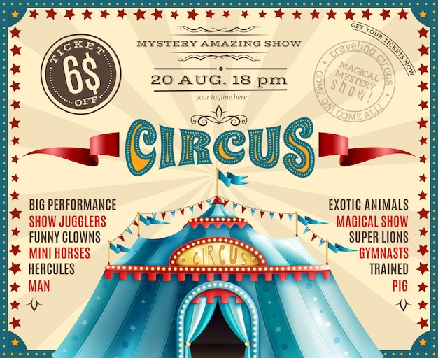 Circus performance announcement retro poster Free Vector