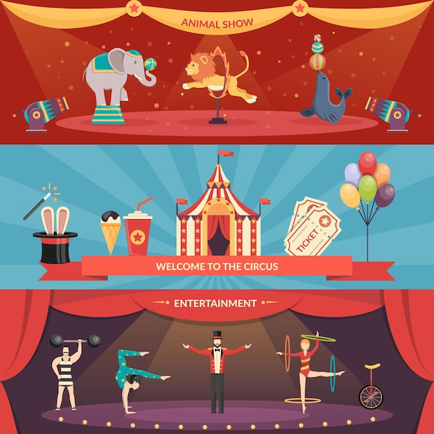 Circus performance banners Free Vector