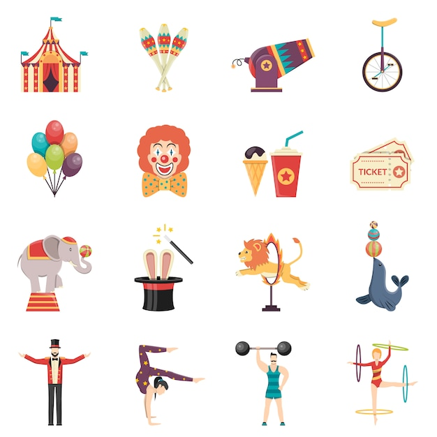 Circus performance flat color icons set Free Vector