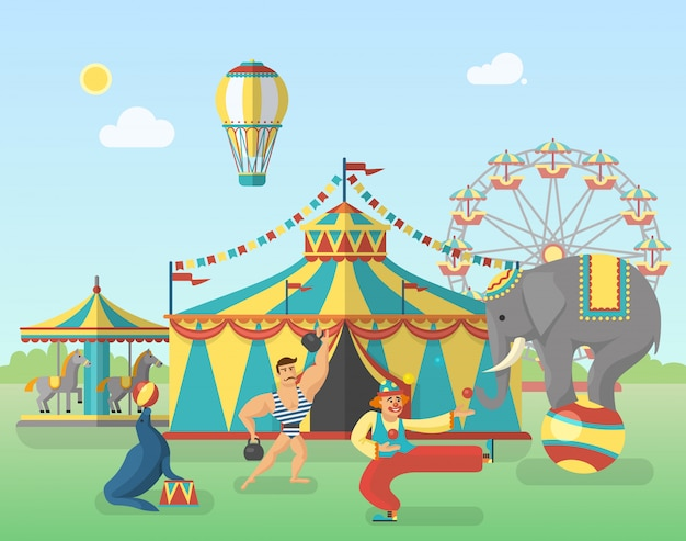 Цирковое представление в парке иллюстрации Бесплатные векторы