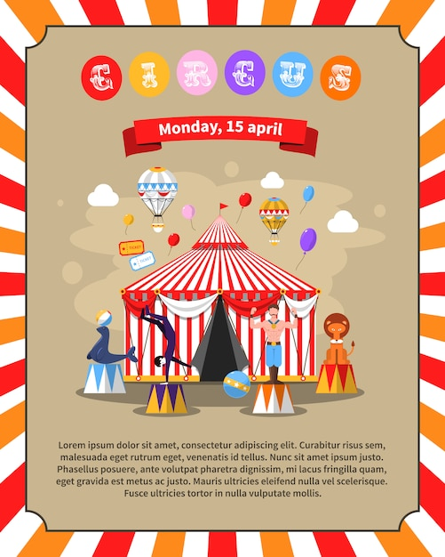 Circus poster illustration Free Vector