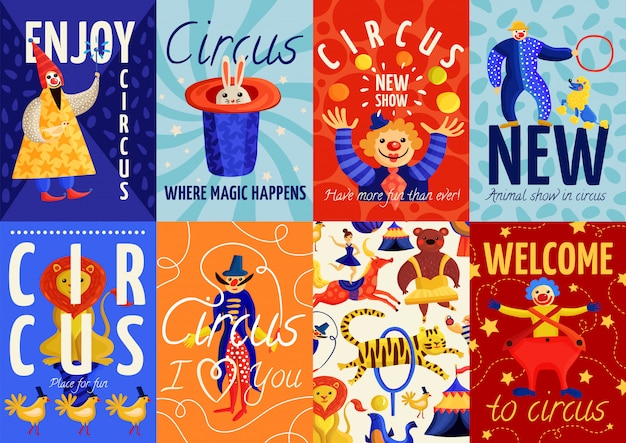 Circus posters and banners set Free Vector