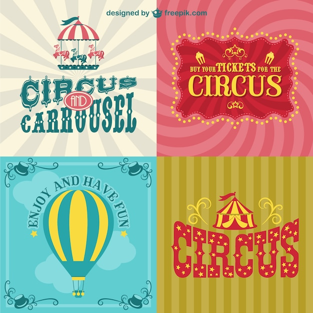 Circus posters set vector free download for Circus posters free