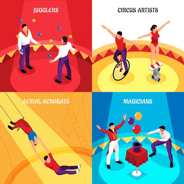 Circus professions jugglers cirque artists air acrobats and magicians isometric concept isolated Free Vector