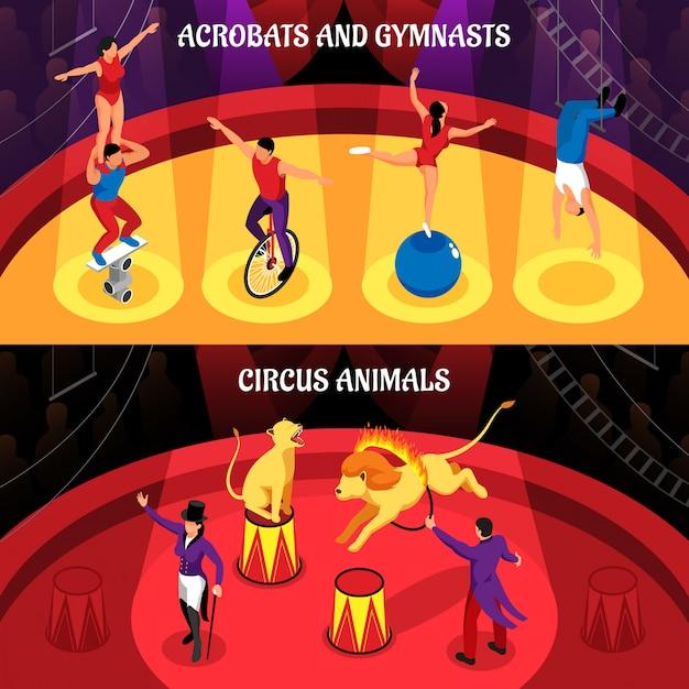 Le professioni circensi hanno messo degli acrobate e delle ginnaste degli animali addestrati insegne isometriche orizzontali isolate Vettore gratuito