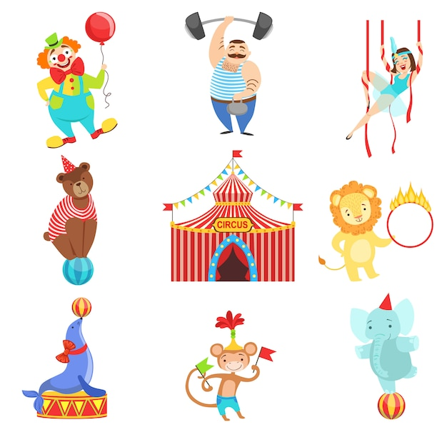 Circus related objects and characters set Premium Vector