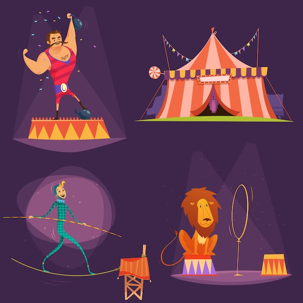 Circus retro cartoon icon set with lion tent actor gymnast vector illustration Premium Vector