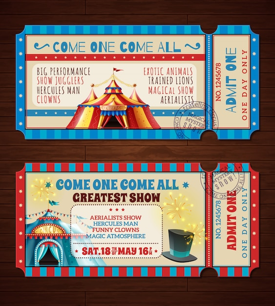 Circus retro tickets banners set Free Vector