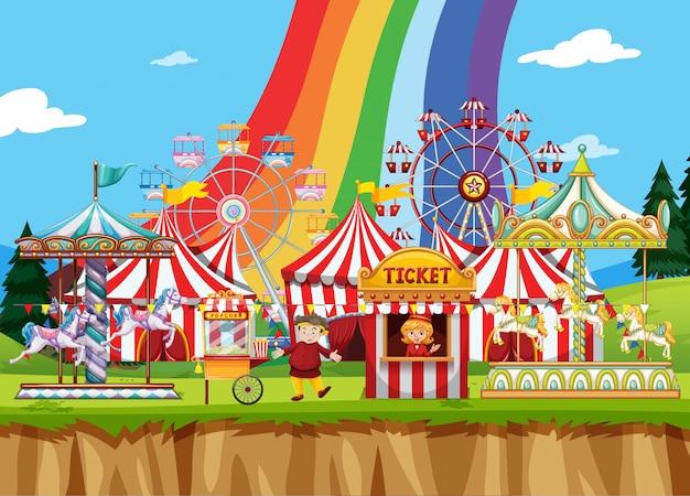 Цирковая сцена с большим количеством поездок в дневное время Premium векторы