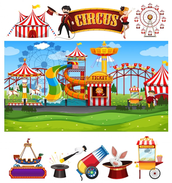 Circus scene with many rides and sign template Free Vector