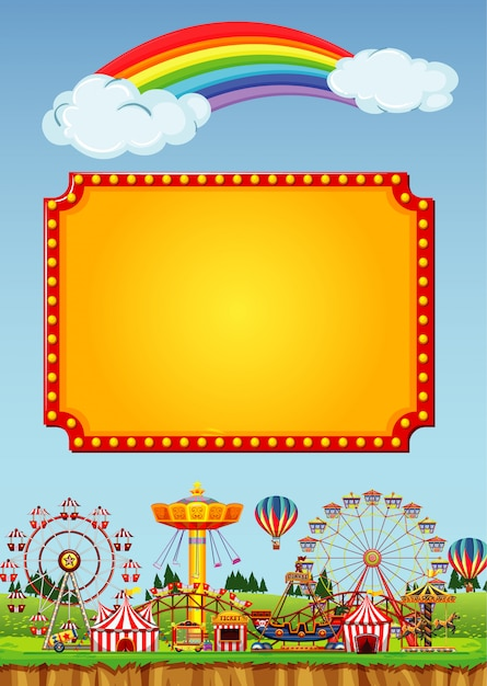 Circus scene with sign template in the sky Free Vector
