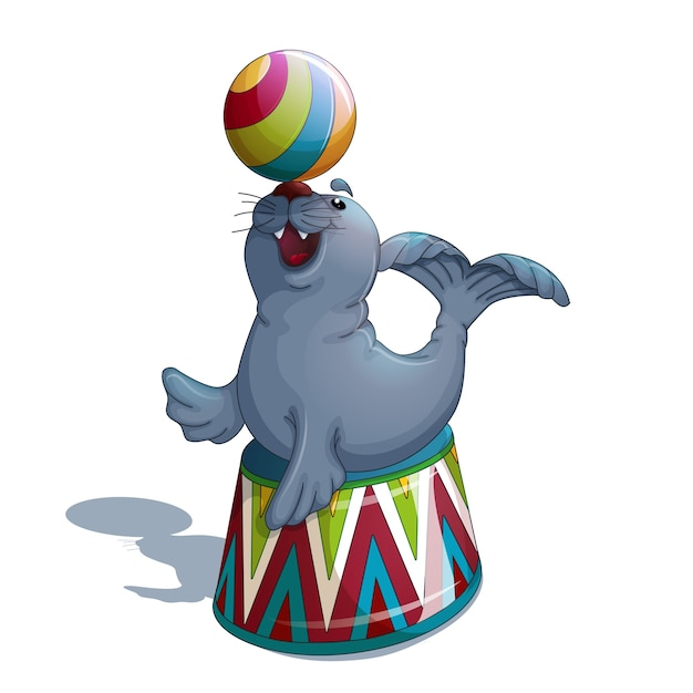 サーカスシールがボールを揺らす。 Premiumベクター