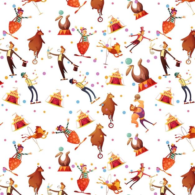 서커스 원활한 재미 복고풍 만화 기념품 선물 씰 이온 마술사와 광대 벡터 일러스트와 함께 포장 종이 패턴 무료 벡터