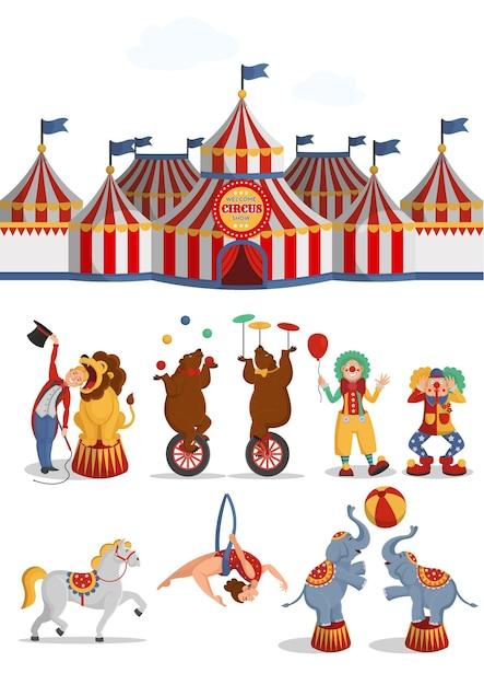 서커스 세트 : 텐트, 사자, 곰, 공중 곡예사, 광대, 말, 코끼리. 벡터 만화 일러스트 레이 션. 프리미엄 벡터
