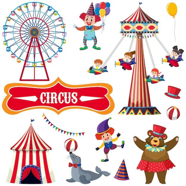 Цирк с множеством людей и животных Premium векторы