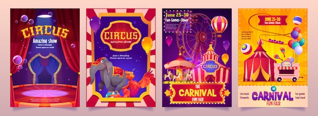 Circus show banners, big top tent carnival entertainment with elephant Free Vector