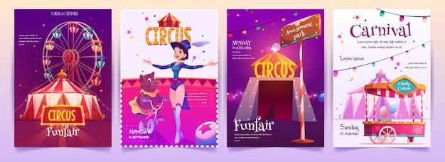 Set di cartelli di spettacoli circensi Vettore gratuito