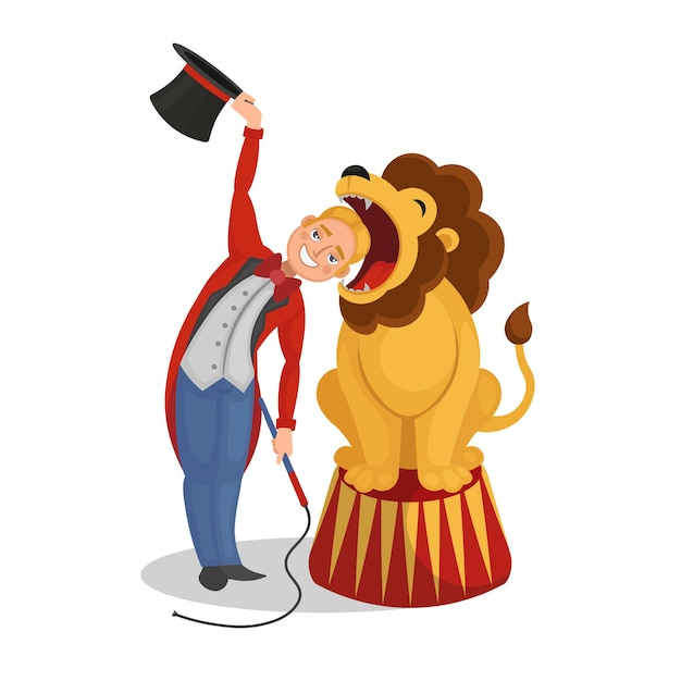 Circus show. the tamer put his head in a lion's mouth. cartoon vector illustration. Premium Vector