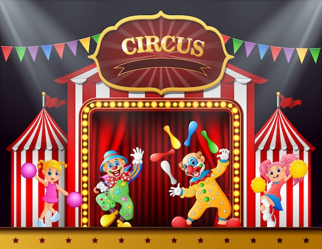 Circus show with clowns and cheerleader on the stage arena Premium Vector