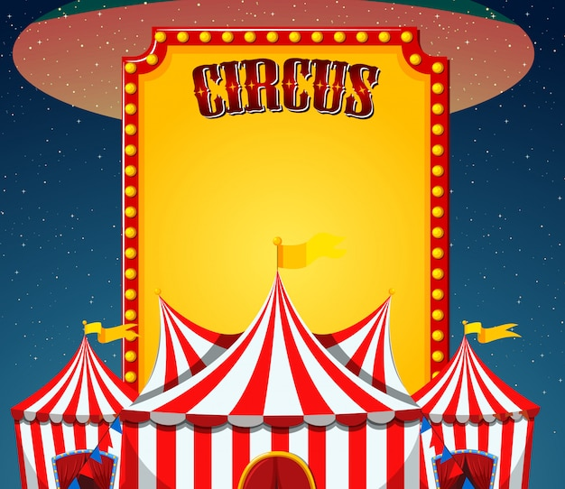 Circus sign template with circus tents in Free Vector