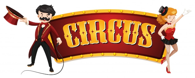 Circus sign template with two magicians Free Vector