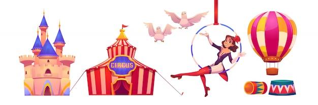 サーカスのスタッフとアーティストのビッグトップテント、空気の体操選手 無料ベクター