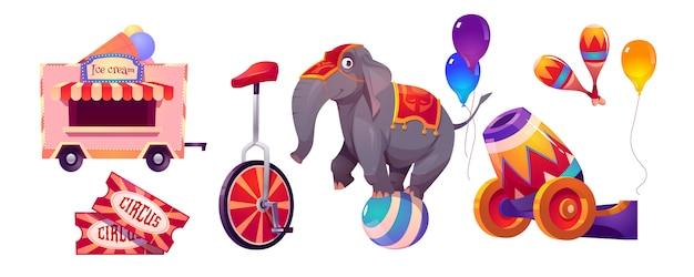 Цирковые вещи и слон на шаре, палатка с большим верхом Бесплатные векторы