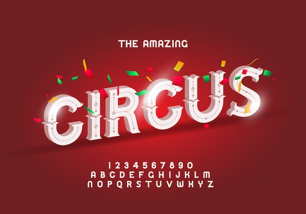Circus style modern font, alphabet letters and numbers Premium Vector