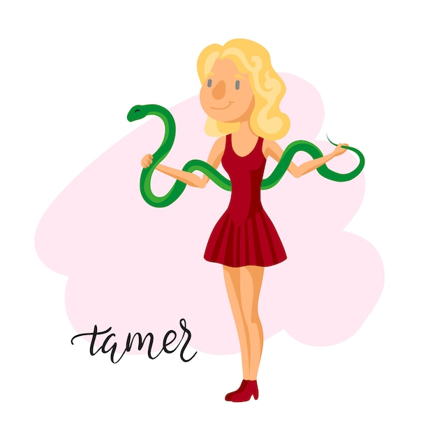 Circus tamer girl. Free Vector