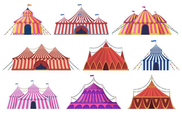 서커스 텐트. 플래그, 놀이 명소와 놀이 공원 빈티지 카니발 서커스 텐트. 서커스 엔터테인먼트 텐트 세트. 윤곽 스트라이프 돔. 프리미엄 벡터